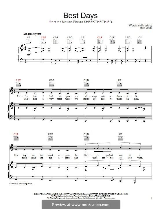 Best Days: Für Stimme und Klavier (oder Gitarre) by Matt White