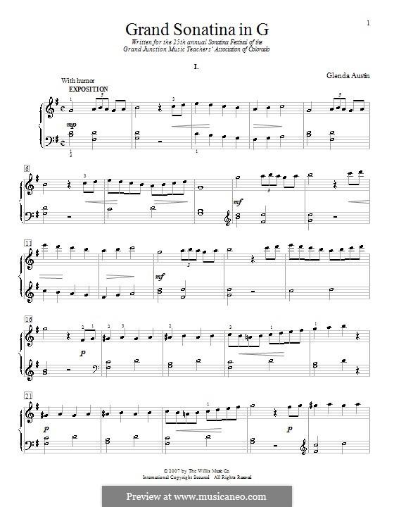 Grand Sonatina in G Major: Für Klavier by Glenda Austin