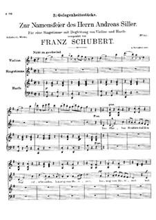 Zur Namensfeier des Herrn Andreas Siller, D.83: G-Dur by Franz Schubert