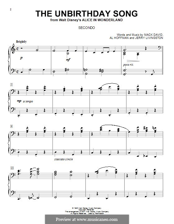 The Unbirthday Song: Für Klavier, vierhändig by Al Hoffman, Jerry Livingston, Mack David