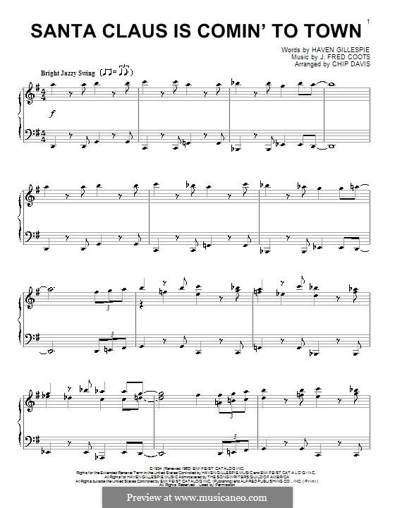 Santa Claus is Comin' to Town, for Piano: Für einen Interpreten by J. Fred Coots