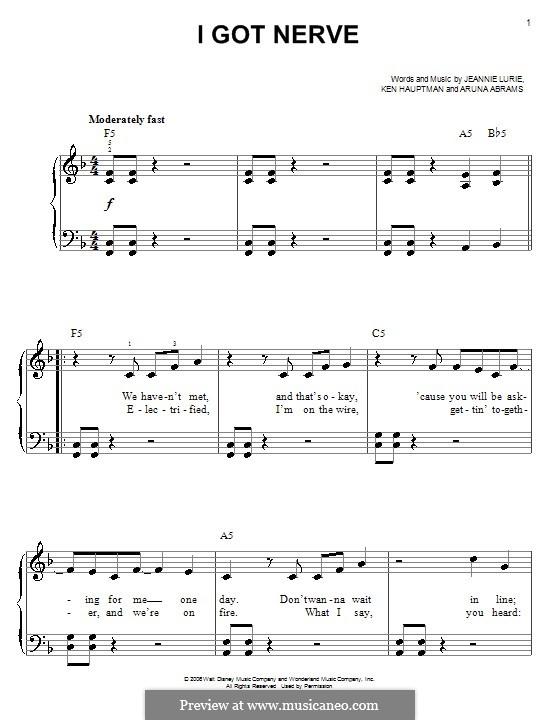 I Got Nerve (Hannah Montana): Einfache Noten für Klavier by Aruna Abrams, Jeannie Lurie, Ken Hauptman