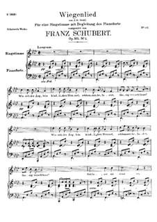 Wiegenlied, D.867 Op.105 No.2: Für Stimme und Klavier by Franz Schubert