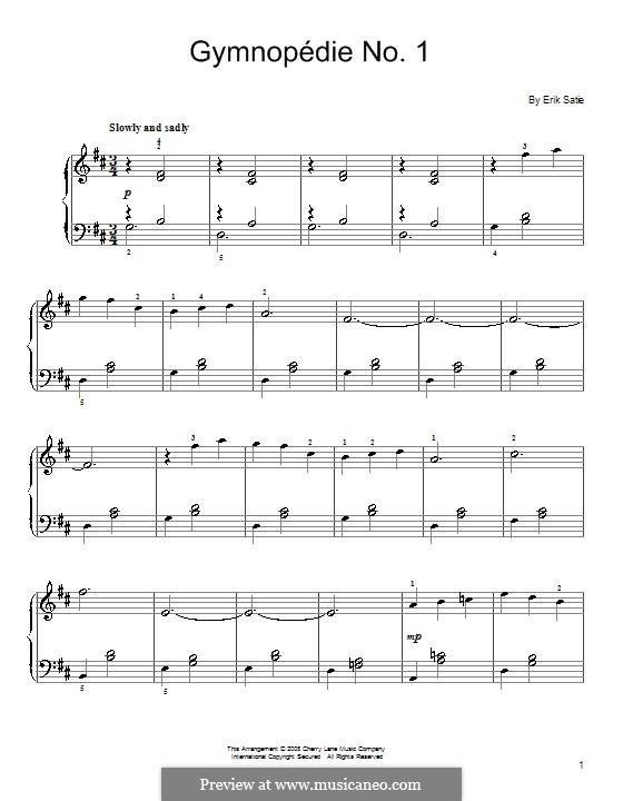 Gymnopédies: Nr.1 (mit Fingersatz) by Erik Satie