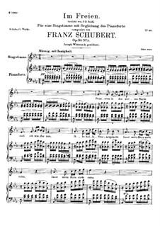 Im Freien, D.880 Op.80 No.3: Für Stimme und Klavier by Franz Schubert
