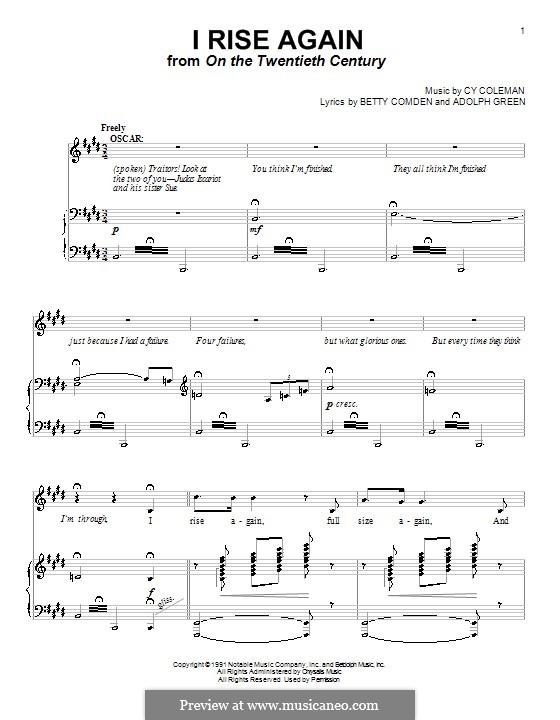 I Rise Again: Für Stimme und Klavier (oder Gitarre) by Cy Coleman