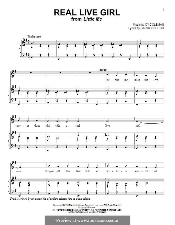 Real Live Girl: Für Stimme und Klavier (oder Gitarre) by Cy Coleman