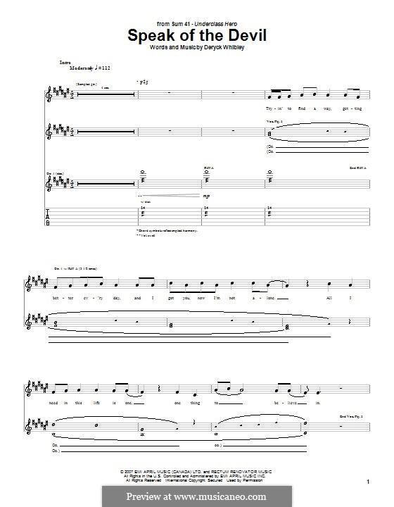 Speak of the Devil (Sum 41): Für Gitarre mit Tab by Deryck Whibley