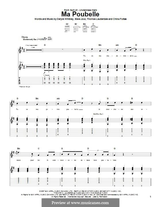 Ma Poubelle (Sum 41): Für Gitarre mit Tabulatur by China Forbes, Deryck Whibley, Steve Jocz, Thomas Lauderdale