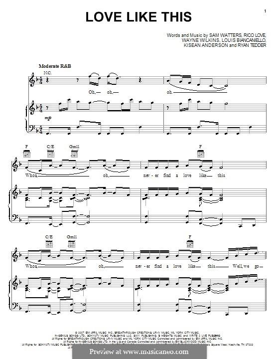 Love Like This (Natasha Bedingfield featuring Sean Kingston): Für Stimme und Klavier (oder Gitarre) by Louis Biancaniello, Rico Love, Ryan B Tedder, Samuel Watters, Wayne Wilkins