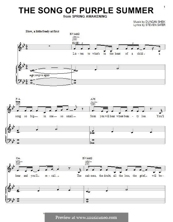 The Song of Purple Summer: Für Stimme und Klavier (oder Gitarre) by Duncan Sheik