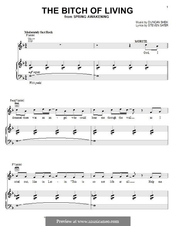 The Bitch of Living: Für Stimme und Klavier (oder Gitarre) by Duncan Sheik