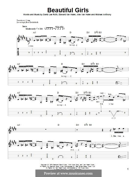 Beautiful Girls (Van Halen): Für Gitarre mit Tab by Alex Van Halen, David Lee Roth, Edward Van Halen, Michael Anthony