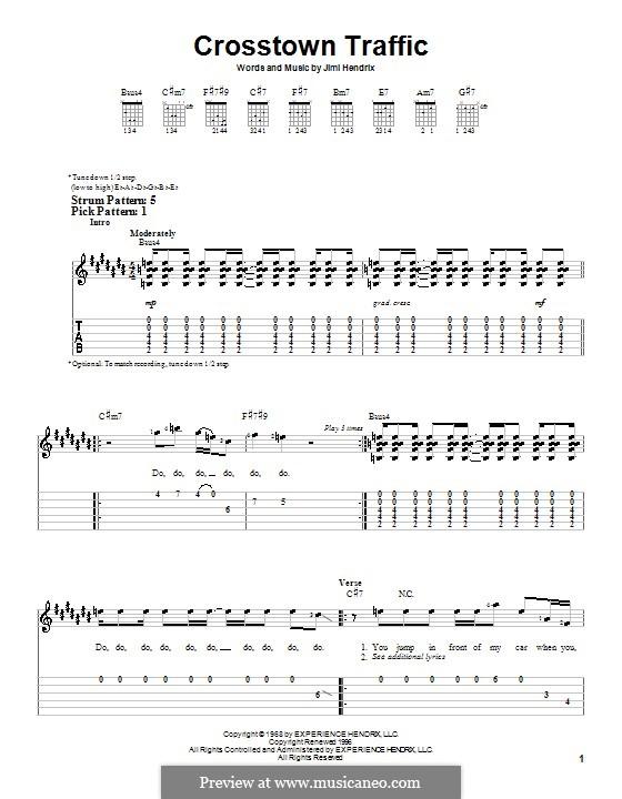 Crosstown Traffic: Für Gitarre (Sehr leichte Fassung) by Jimi Hendrix