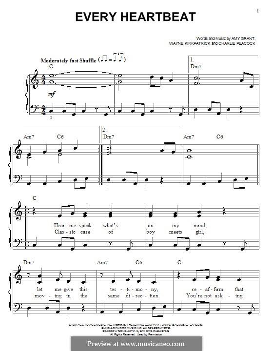 Every Heartbeat (Amy Grant): Für Klavier, leicht by Charlie Peacock, Wayne Kirkpatrick