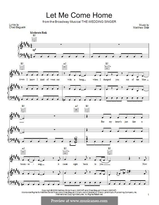 Let Me Come Home: Für Stimme und Klavier (oder Gitarre) by Chad Beguelin