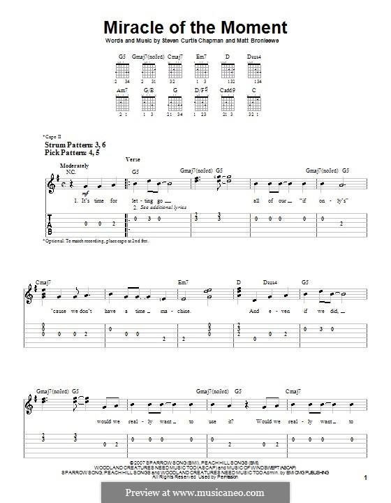 Miracle of the Moment (Steven Curtis Chapman): Für Gitarre (Sehr leichte Fassung) by Matt Bronleewe