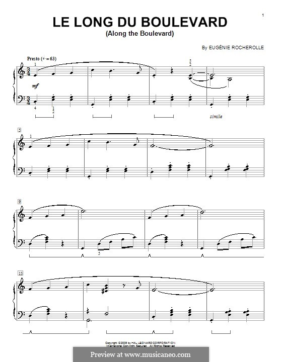 Le long du Boulevard: Für Klavier by Eugénie Rocherolle