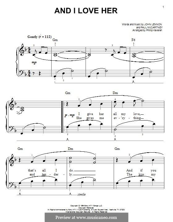 And I Love Her (The Beatles): Für Klavier, leicht by John Lennon, Paul McCartney