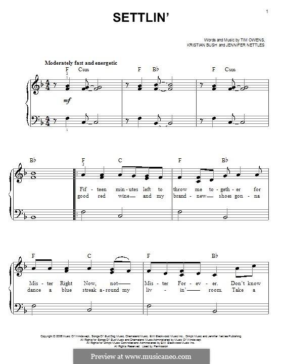 Settlin' (Sugarland): Für Klavier, leicht by Jennifer Nettles, Kristian Bush, Tim Owens