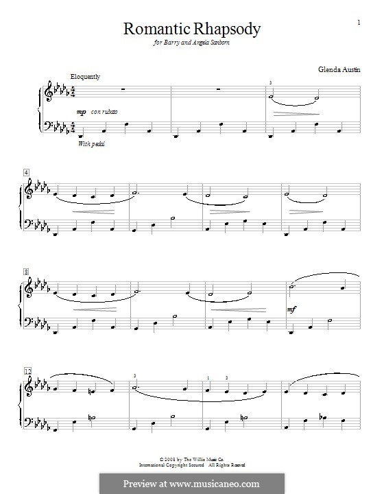 Romantic Rhapsody: Für Klavier by Glenda Austin