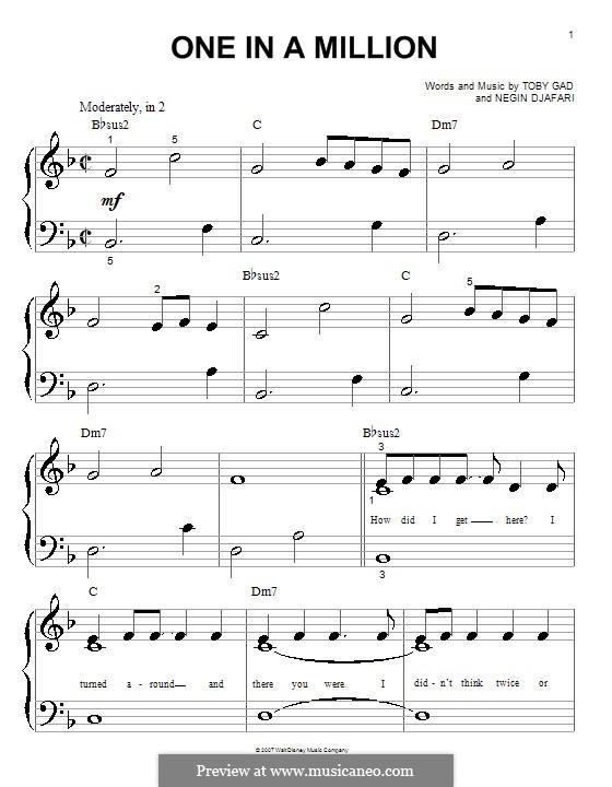One in a Million (Hannah Montana): Für Klavier (sehr leichte Fassung) by Negin Djafari, Tobias Gad