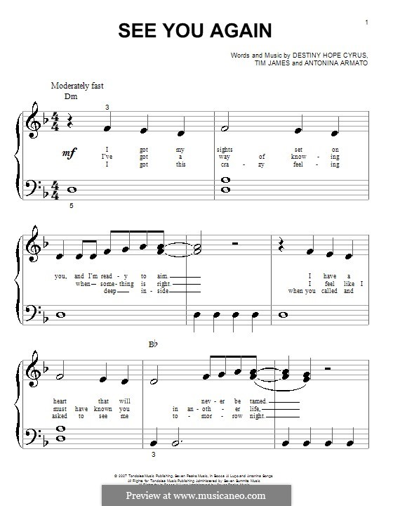 See You Again (Hannah Montana): Für Klavier (sehr leichte Fassung) by Antonina Armato, Destiny Hope Cyrus, Timothy James