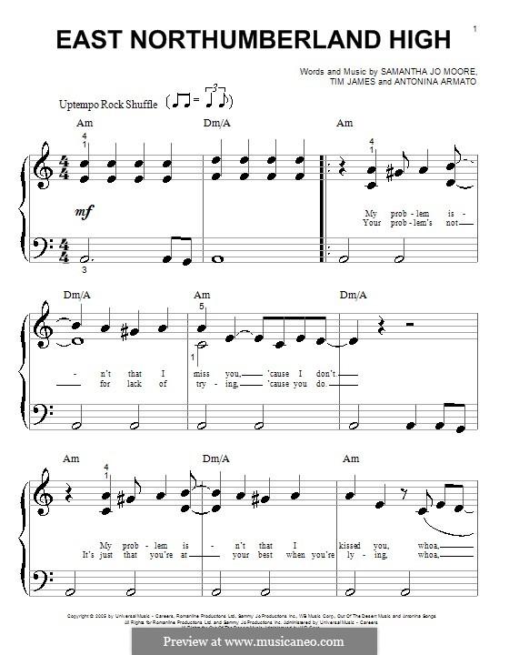 East Northumberland High (Hannah Montana): Für Klavier (sehr leichte Fassung) by Antonina Armato, Samantha Jo Moore, Timothy James