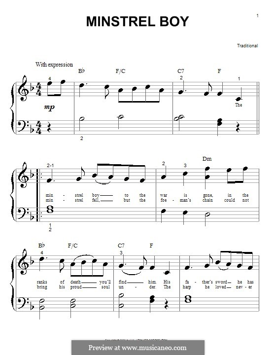 The Minstrel Boy (The Moreen): Für Klavier by folklore
