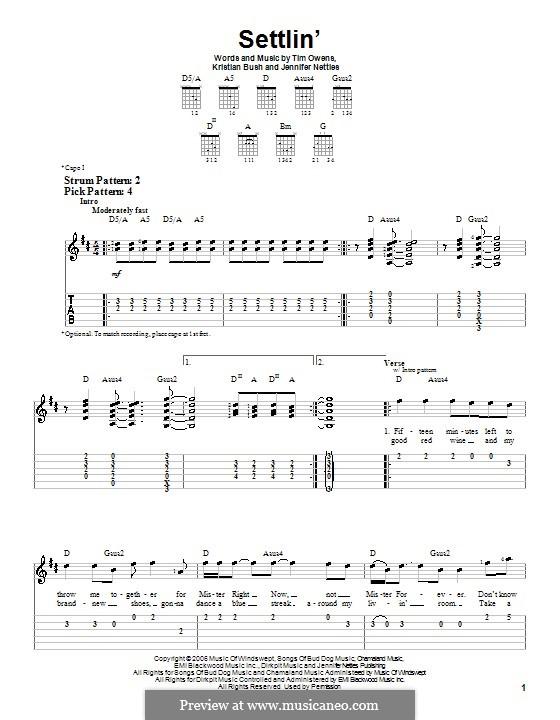 Settlin' (Sugarland): Für Gitarre (Sehr leichte Fassung) by Jennifer Nettles, Kristian Bush, Tim Owens