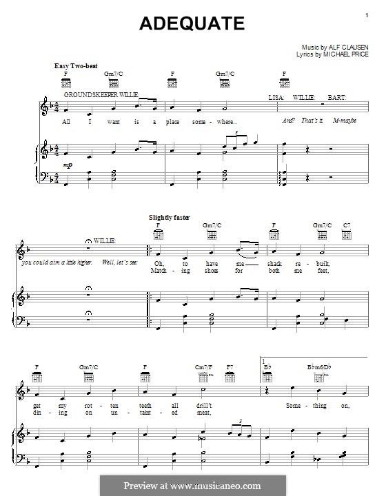 Adequate (The Simpsons): Für Stimme und Klavier (oder Gitarre) by Alf Clausen, Michael Price