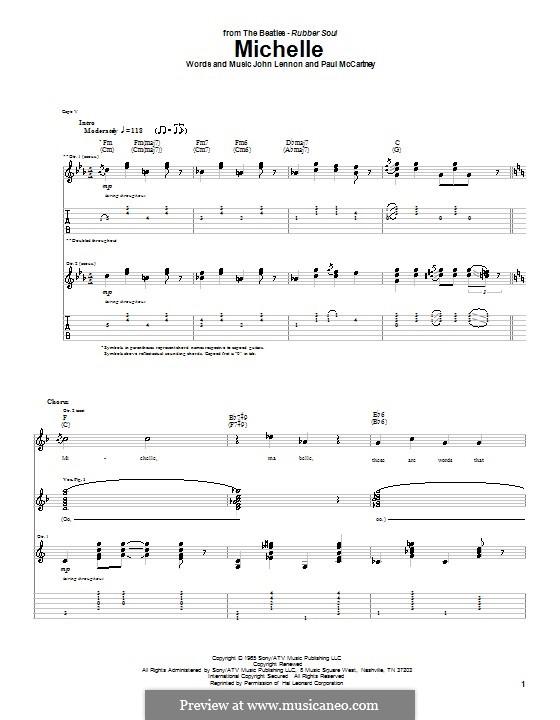 Michelle (The Beatles), for One Instrument: Für Gitarre mit Tabulatur by John Lennon, Paul McCartney
