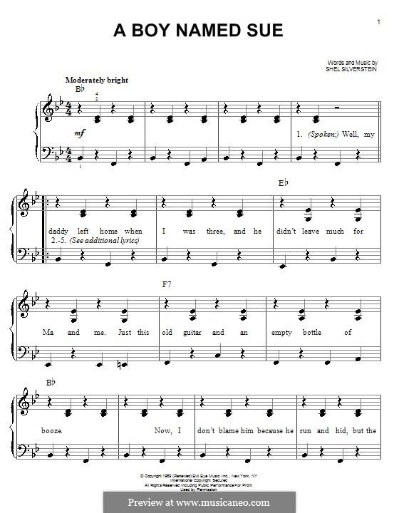 A Boy Named Sue (Johnny Cash): Für Klavier, leicht by Shel Silverstein
