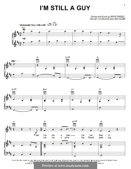 I'm Still a Guy (Brad Paisley): Für Stimme und Klavier (oder Gitarre) by Kelley Lovelace, Lee Thomas Miller