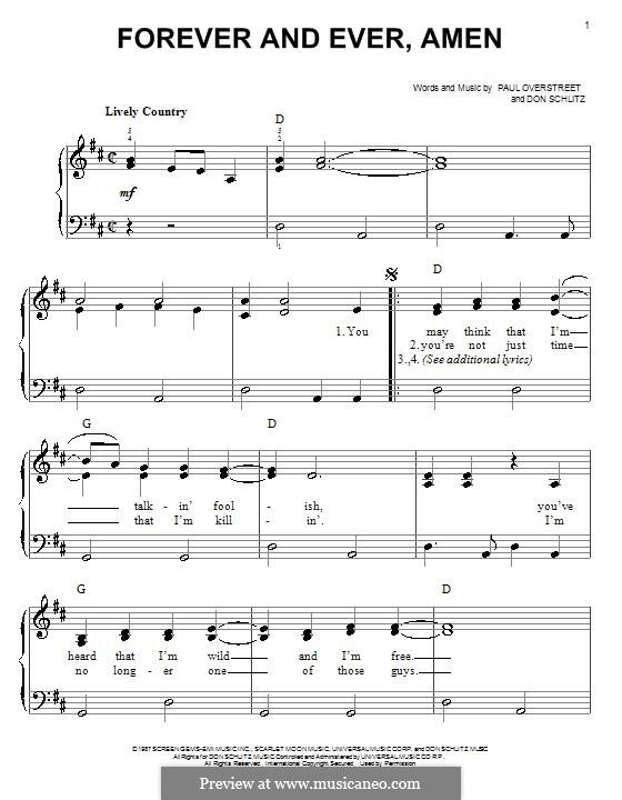 Forever and Ever, Amen (Randy Travis): Für Klavier, leicht by Don Schlitz, Paul Overstreet