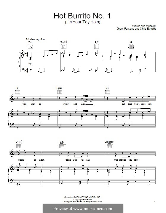 Hot Burrito No.1 (I'm Your Toy Horn): Für Stimme und Klavier (or guitar)( by Chris Ethridge