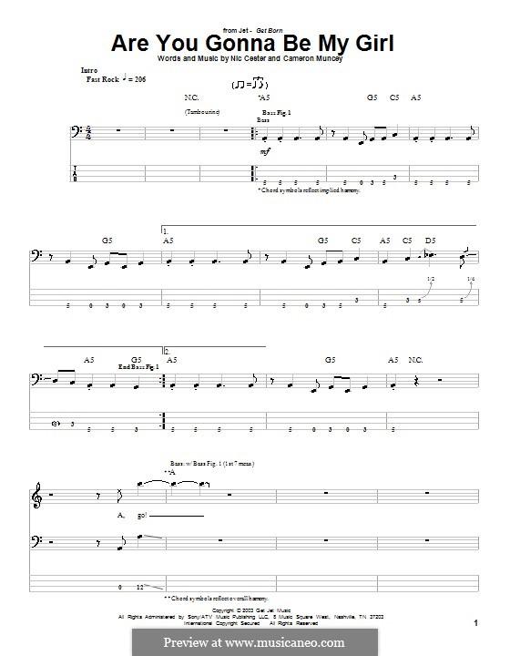 Are You Gonna Be My Girl (Jet): Für Bassgitarre mit Tabulatur by Cameron Muncey, Nic Cester