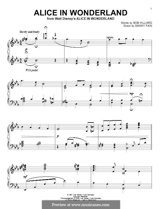 Alice in Wonderland (Bill Evans): Für Klavier by Bob Hilliard, Sammy Fain