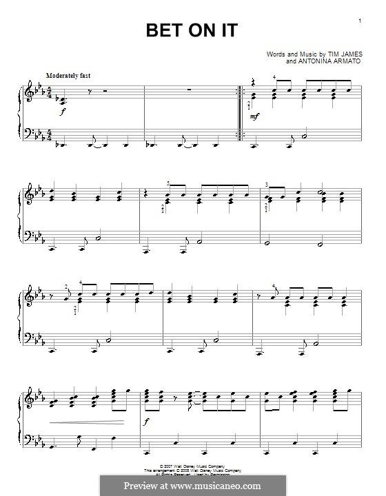 Bet on It (High School Musical 2): Für Klavier by Antonina Armato, Timothy James