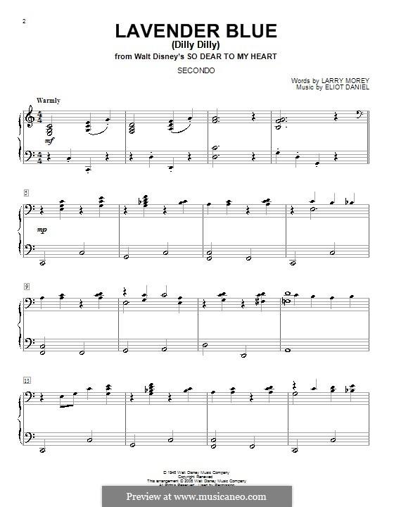 Lavender Blue (Dilly Dilly): Für Klavier, vierhändig by Eliot Daniel, Larry Morey