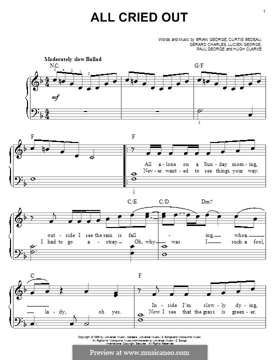 All Cried Out (Lisa Lisa & Cult Jam): Für Klavier, leicht by Brian P. George, Curtis T. Bedeau, Gerard R. Charles, Hugh Clarke, Lucien George, Paul A. George