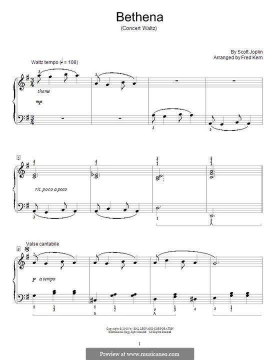 Bethena: Für Klavier (Arranged by Kern) by Scott Joplin