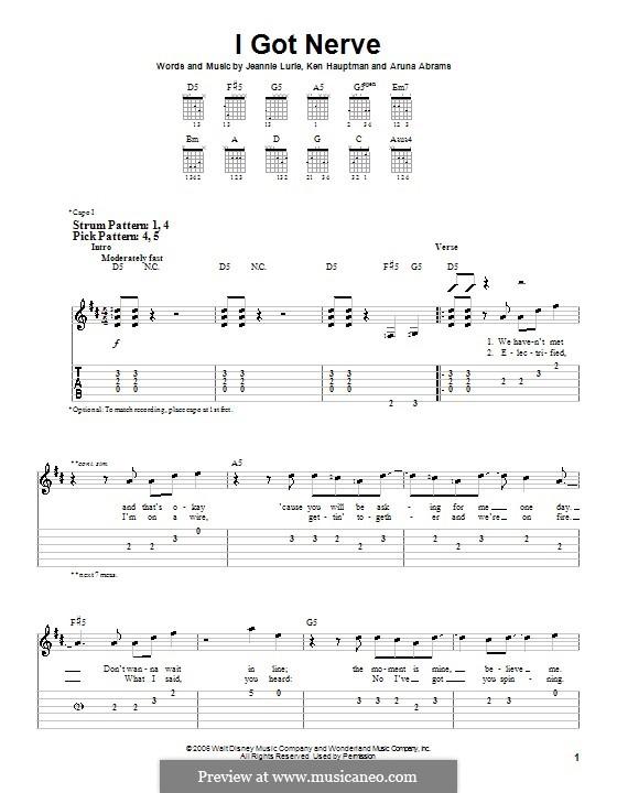 I Got Nerve (Hannah Montana): Für Gitarre (Sehr leichte Fassung) by Aruna Abrams, Jeannie Lurie, Ken Hauptman