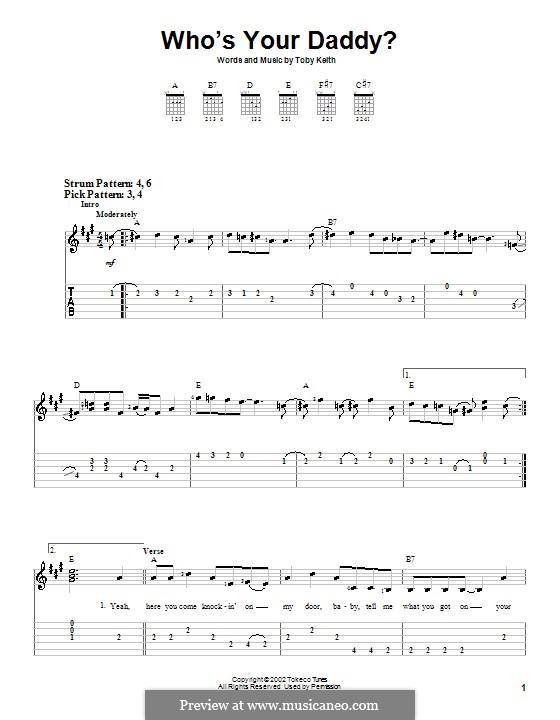 Who's Your Daddy?: Für Gitarre (Sehr leichte Fassung) by Toby Keith