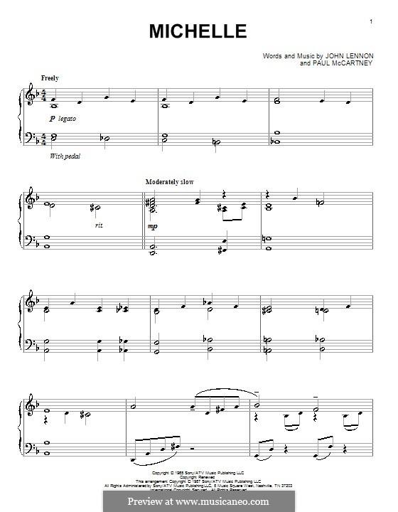 Michelle (The Beatles), for One Instrument: Für Klavier (Noten von hohem Qualität) by John Lennon, Paul McCartney