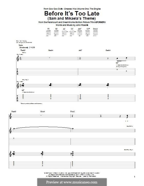 Before It's Too Late (Sam and Mikaela's Theme): Für Gitarre mit Tab by John Rzeznik