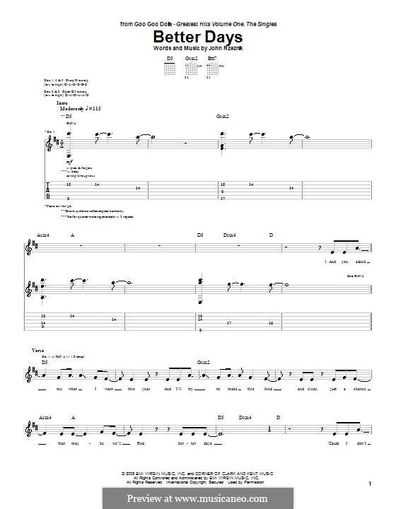Better Days (Goo Goo Dolls): Für Gitarre mit Tab by John Rzeznik