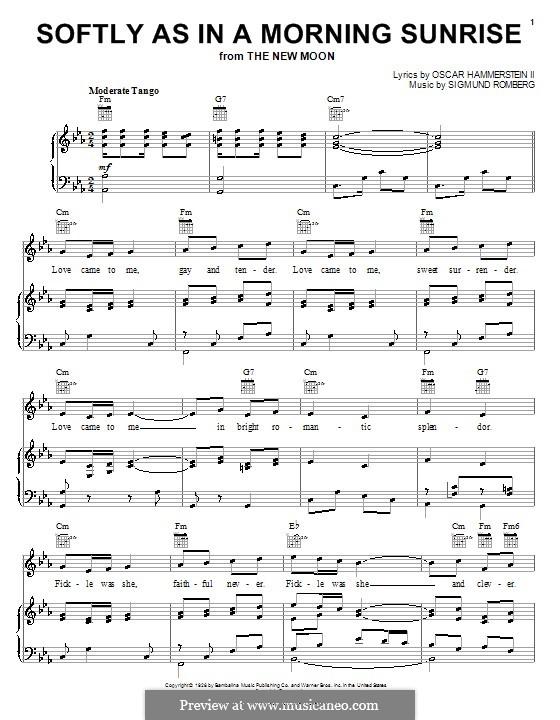 Softly as in a Morning Sunrise: Für Stimme und Klavier (oder Gitarre) by Sigmund Romberg