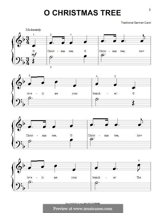 O Tannenbaum, für Klavier: Einfache Noten für Klavier by folklore