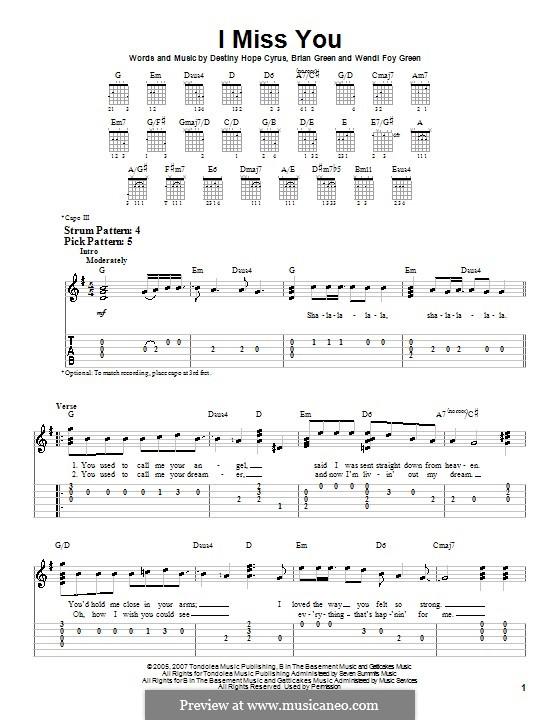 I Miss You (Hannah Montana): Für Gitarre (Sehr leichte Fassung) by Brian Green, Destiny Hope Cyrus, Wendi Foy Green